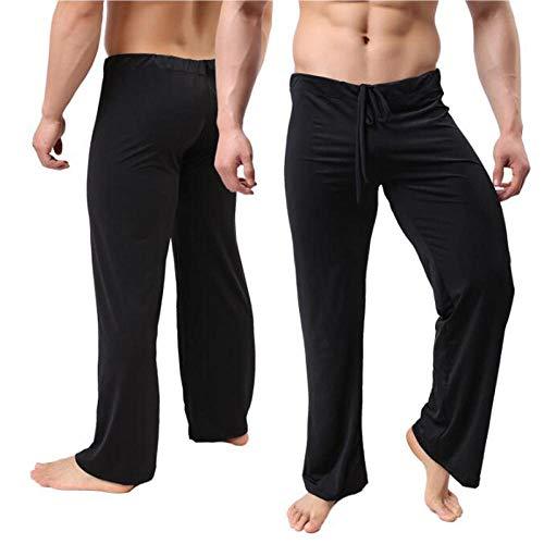 Pantalones De Pijama para Hombre, Cintura Baja, Moda, Sexy, Holgado, Resbaladizo, Pantalones Caseros, Seda De Hielo, Manga Larga, Ropa De Estar para Hombre-Negro_Metro