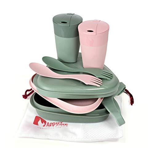 Light My Fire - Set 5 Pz - Piatti, Posate e Scatole per Cibo Riutilizzabili da Asporto - Microonde e Lavastoviglie - Plastica 100% Senza BPA - Ideale Campeggio/Escursionismo/Porta Pranzo