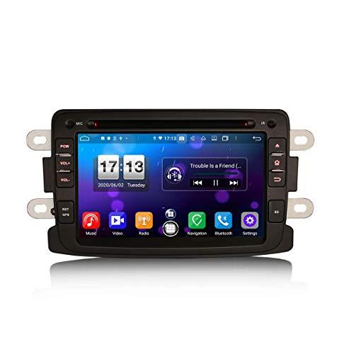 Car Navigator 7 Pulgadas Android 10.0 Car Stereo para Renault Dacia Duster Sandero Dokker Logan Lodgy Soporte GPS Sat Nav Carplay Android Auto DSP Bluetooth WiFi Dab + TPMS 8-Core 4GB RAM + 64GB ROM
