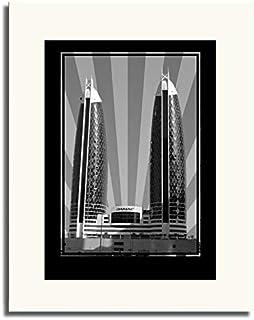 برج صور الدماك - أسود وأبيض بدون نص F05-NM (A1)
