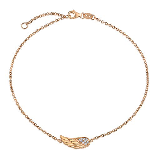 Bling Jewelry Delicate CZ Angel Wing Feather Anklet for Teen Ankle Bracelet for Women Teens Rose Gold Plated 925 Sterling Silver 9-10 Inch Extender