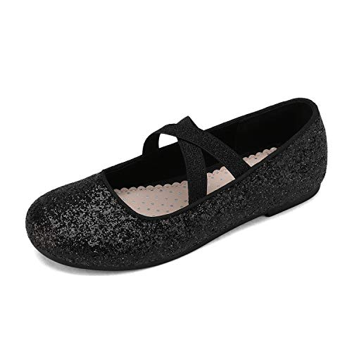 DREAM PAIRS Girls Ballerina Dress Shoes Cross-Strap Mary Jane Flats Black Size 10 Little Kid Angie-2