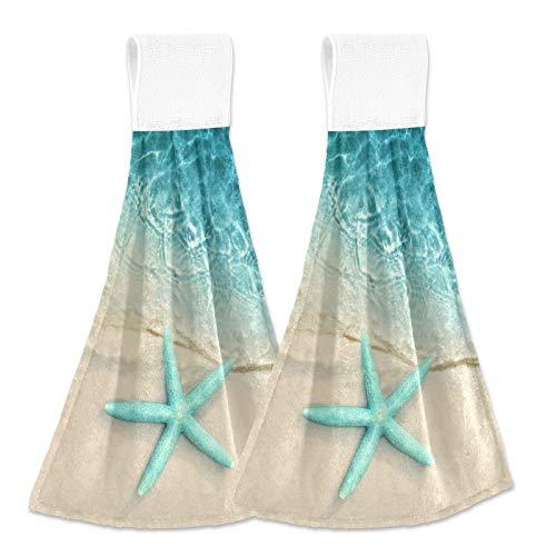 Ocean Beach Starfish Kitchen Hand Towels Sea Water Hanging Tie Towel Dishcloths with Loop 2PCS, Soft Super Absorbent Fingertip Towel for Bathroom Laundry Room 12x17 in