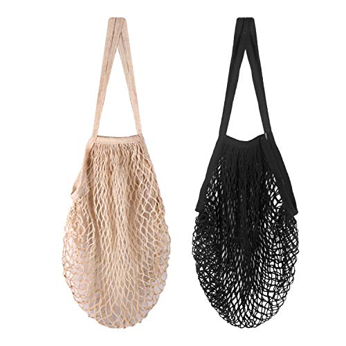 Reusable Produce Bags Kmeivol 2 Pack Produce Bags Washable Produce Bags Grocery Reusable Organic Cotton Mesh Produce Bags with Long Handle Mesh Bags for VegetablesBeige Black