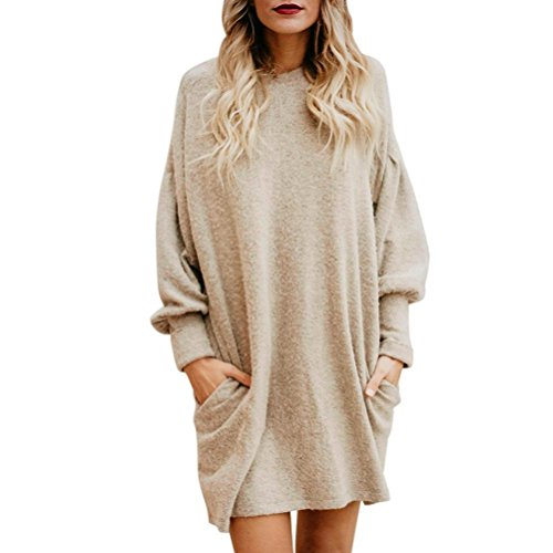 Fheaven Women Solid O-Neck Pocket Long Sleeve Casual Loose Mini Sweater Dress (Beige, M)