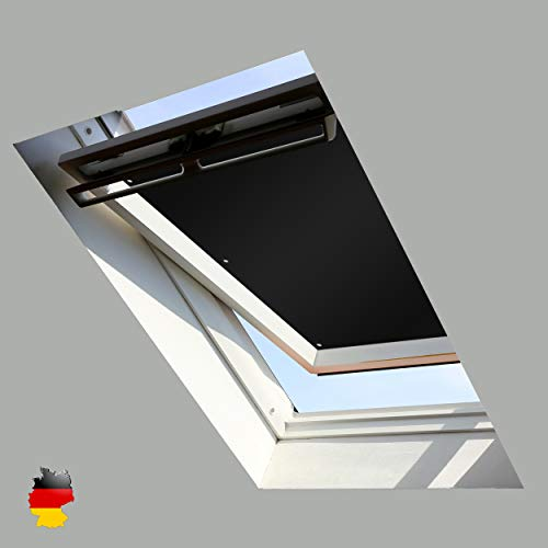Sonnenschutz für Dachfenster | Perfekt für Velux und Roto Fenster | 100% Verdunkelung | Sonnen und UV Schutz | GGU, GPU, GHU, GTU, GXU, GGL, GPL, GHL, GTL, GXL (Schwarz, 60x93)
