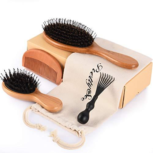 Cepillo para mujeres, hombres, niños, palas de jabalí de cerdas de jabalí, juego de cepillo y peine de bambú para pelo rizado, liso, corto y largo, añade brillo y mejora la textura del cabello.