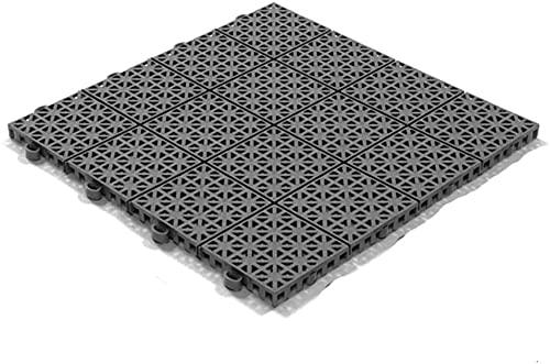Stecksystem Kunststofffliesen Hestra Universa | Bodenfliesen Kunststoff | Bodenplatten | Klicksystem Fliesen | 11 Fliesen à 30 x 30 cm | dunkelgrau