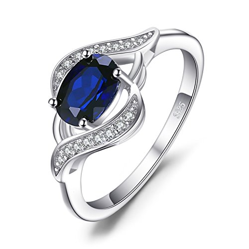 JewelryPalace 1.1ct Gemaakt Blauwe Saffier Statement Ring 925 Sterling Zilver