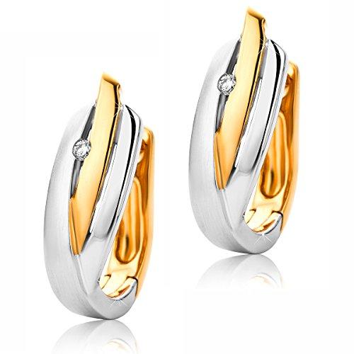 Orovi Damen Diamant Creolen Ohrringe 9 Karat (375) Zweifarb/Weißgold und Rosegold Ohr-Schmuck Brillianten 0.03ct