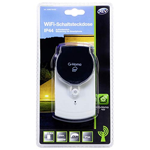G-Homa EMW302WFO Smart Plug Schwarz, Weiß 3680 W - Smart Plugs (Kabellos, WLAN, 802.11b,802.11g,Wi-Fi 4 (802.11n), Outdoor, Schwarz, Weiß, IP44)