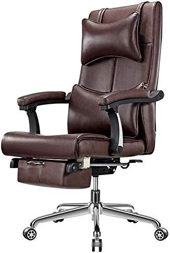Bürostühle Ergonomisch-Stuhl-Schreibtischstuhl mit lumbalem Support Head Rest Executive High Back Computerstuhl Sessel (Color : Brown)