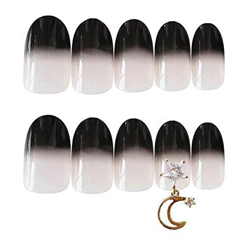 QULIN Falsche NägelMond und Stern Thema Schwarz Farbverlauf Farbe mit Niet Dekoration 3d falsche Nägel mit Kleber Braut Niedliche Presse auf Nägel für Mädchen