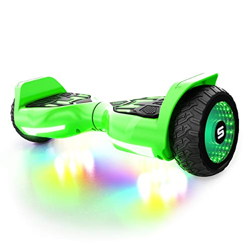 Swagtron Swagboard T580 Warrior Hoverboard with Speaker Synced Lighting FX Powered by LiFePo Battery Technology, Green, 500W