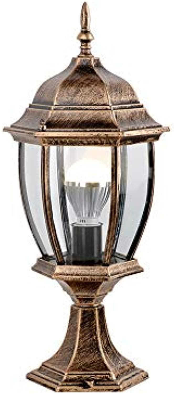 IP55 Wasserdichte Sulenlampe Europischen Garten Im Freien Glas Laterne Rostschutz Aluminium Sulenlampe Pathway Hof Türpfosten Licht E27 (Farbe   Bronze-H-45cm)