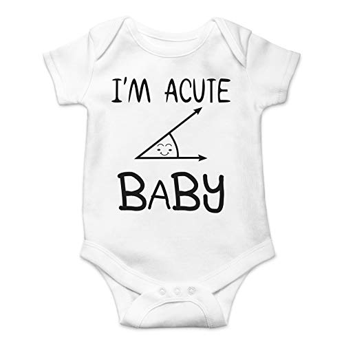 Acute Baby Romper - Geeky Math Humor - Funny Cute Novelty Infant Creeper, One-Piece Short Sleeve Baby Bodysuit (White, 6 Months)