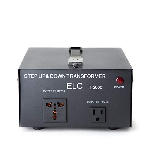 ELC T-2000 2000 watts Voltage Converter Transformer - Step Up/Down - 110V/220V - Circuit Breaker Protection [3-Years Warranty]