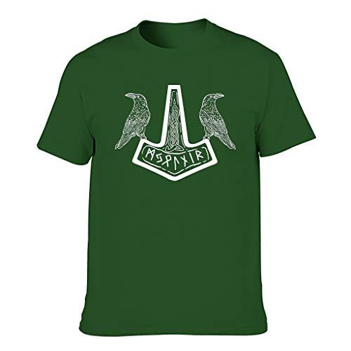 Camiseta para hombre Schmeidig con diseño de martillo vikingo, celta y dos cuervos Dark Green001. XXXXL