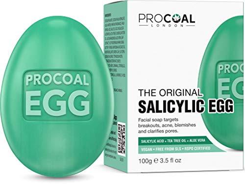 Salicylic Egg, Natural Salicylic Acid Soap 100g by Procoal - Salicylic Acid Face & Body Wash For...