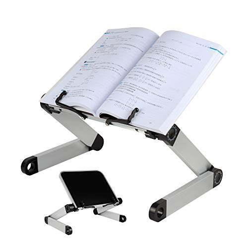 Actume Reading Stand Adjustable Height, Angle Ergonomic Book Holder, Suitable for Large Heavy-Duty Books, Light Durable Aluminum Bookshelf Folding