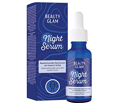 Beauty Glam – Night Serum – Regenerierendes Nachtserum mit Vitamin C und Hyaluronsäure – für eine straffe Haut - für eine straffe Haut - Vegan, silikonfrei, ohne Farbstoffe, Made in Germany - 30 ml