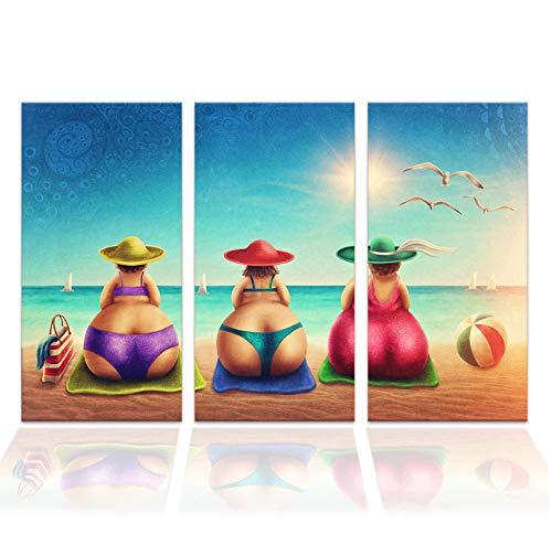 Dikke Dame op Strand Canvas Schilderij Bikini Vrouw Vakantie Cartoon Muuraffiche voor Woonkamer Moderne Kunst Decor 40 cm x 80 cm x 3 stksframeloze