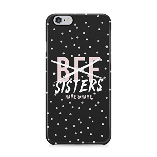 Personalised Customizable Text Best Friends Name Initials Black We Are Sisters Protective Hard Plastic Case Cover For iPhone 6/iPhone 6s Carcasa