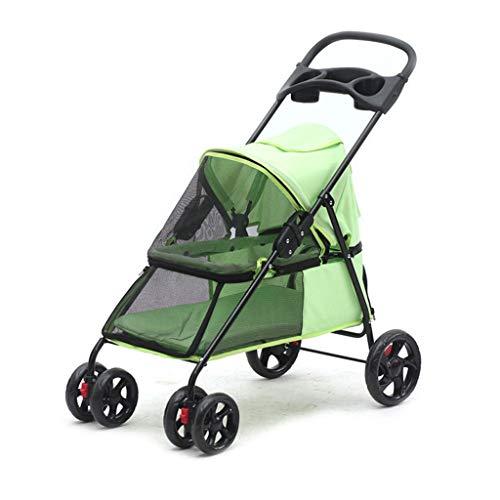 Jogger Kinderwagen for Hunde und Katzen - All Terrain, leicht, tragbar und bequem for Ihre Lieblingshunde (Color : Green)