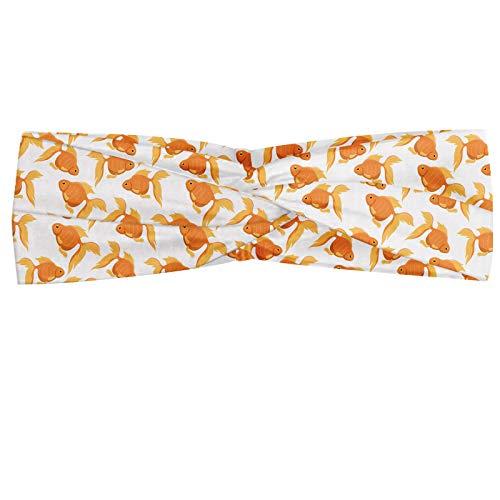 ABAKUHAUS Goudvis Hoofdband, Exotic Aquarium Oranje, Elastische en Zachte Bandana voor Dames, voor Sport en Dagelijks Gebruik, Oranje lichtgroen oranje