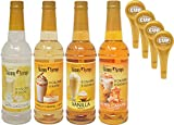 Jordan's Skinny Syrups Sugar Free 4 Flavor Variety 1 of each 750 ml Bottle with By The Cup Coffee...