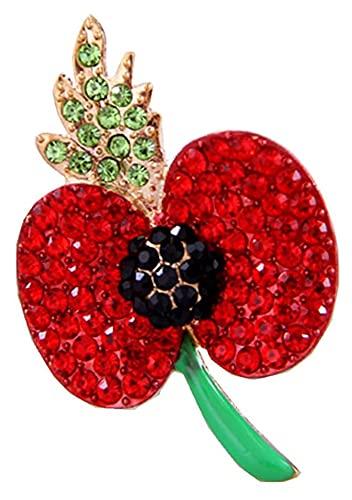 X/L Spilla a Forma di Papavero per Il Giorno del ricordo del veterano Soldato Remembrance Day Spilla a Forma di Papavero Rosso con Smalto Lest We Forget (Color : A)