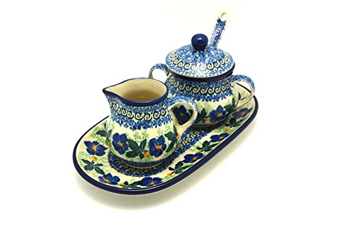 Polish Pottery Cream & Sugar Set with Sugar Spoon - Blue Pansy