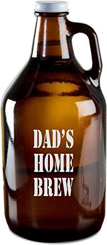 Engraved Personalized Dad's Home Brew Beer Growler, Custom Engraved 64 oz Amber Beer Growlers - GR04