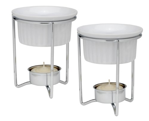 Harold Import Co. 43678 HIC Butter Warmers with Tealight Stand, White Ceramic, Set of 2