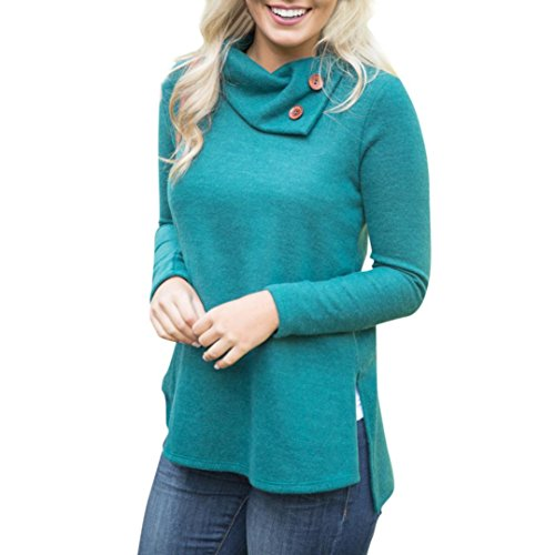KaiCran Women Fashion Sweatshirt Women's Casual Turtleneck Sweatshirt Pullover Tops Blouse (Green, Medium)