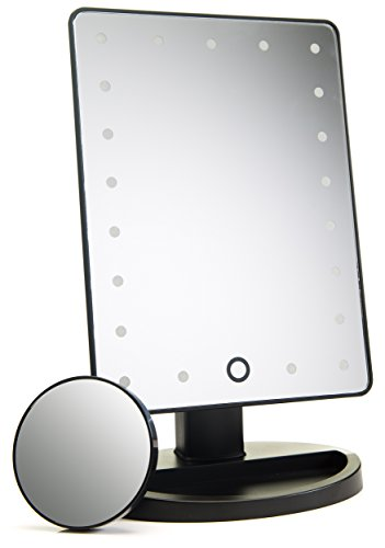 Absolutely Luvly Natural Daylight Lighted Makeup Mirror/Vanity Mirror with Touch Screen Dimming,Detachable 10X Magnification Spot Mirror