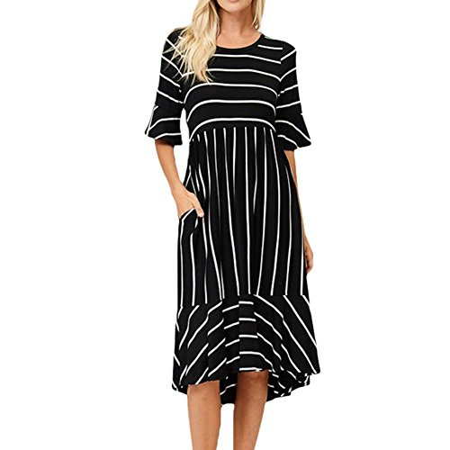 Women's Casual Summer Holiday Striped Knee Length Dress with Short Sleeves and Pockets (Large, Black)