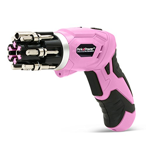 Pink Power 3.6 Volt Rechargeable Cordless Electric Screwdriver Kit with Built-in Bit Set & Bubble Level