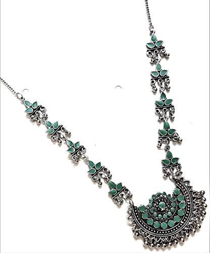 Collar de cadena larga estilo indio de Bollywood oxidado, estilo tribal afgano, estilo gitano, cadena larga, color verde