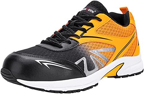 Zapatos de Seguridad Hombre,LM180105 SB SRC Zapatillas de Trabajo con Punta de Acero Ultra Liviano Suave y cómodo Transpirable,42 EU,Negro Naranja