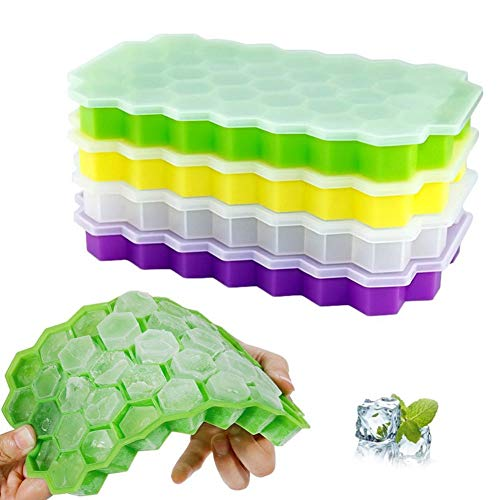 GUOJIAYI Large Honeycomb Shape 37 Cubic Ice Cube Tray Mold Cover Storage Box Ice Cube Mold Home Kitchen Summer Beverage Cooling Bag
