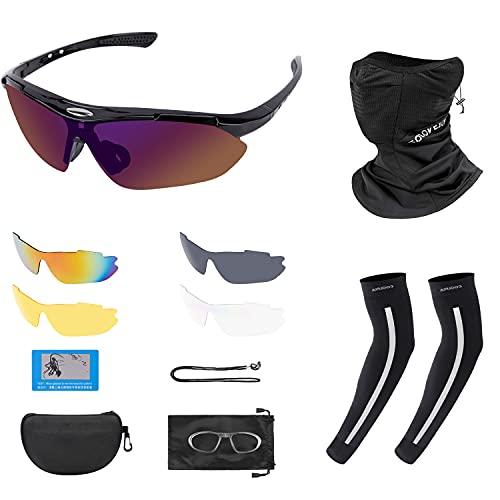 UNIQUEBELLA Gafas de sol polarizadas con 5 lentes intercambiables, 1 par mangas enfriamiento para brazos, protección solar la cabeza, bandanas a prueba viento, bufanda transpirable, UV 400 ciclismo