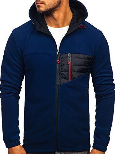 BOLF Herren Übergangsjacke Fleece Jacke Funktionjacke Sportjacke Steppjacke Warm Hoodie Fleece Jacket Outdoor J.Style YL011 Dunkelblau L [4D4]