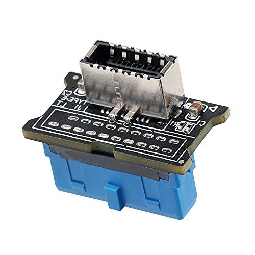 BEYIMEI Tarjeta de Interfaz USB 3.0 de 19 Pines a Type-C - Vertical USB 3.0 de 19 Pines a USB 3.1 Tarjeta adaptadora de encabezado Tipo E del Panel Frontal para la Placa Base