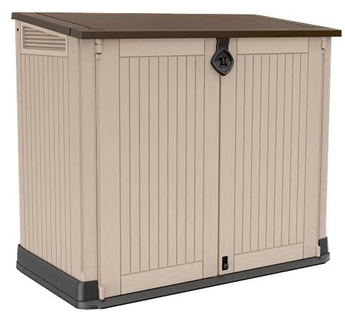 Keter Store it Out Midi Wheelie Bin Box, Beige/Brown