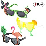 Howaf 3 Paar Hawaiian Tropical Party Brille Set, Sommer Neuheit Party Sonnenbrille Foto Requisiten...