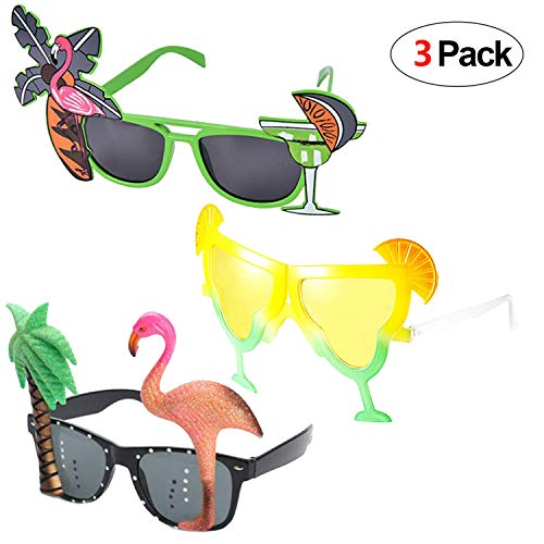 Howaf 3 Paar Hawaiian Tropical Party Brille Set, Sommer Neuheit Party Sonnenbrille Foto Requisiten für Kinder Erwachsene Hawaii Luau Beach Party Kostüm Dekoration (Flamingo Palme u Cocktail)