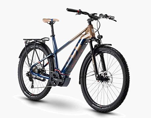 Pexco Husqvarna Cross Tourer 6 Shimano Steps Trekking Bicicleta eléctrica 2020 (27,5 pulgadas hombre diamante 55 cm, bronce/azul/rojo (hombre)