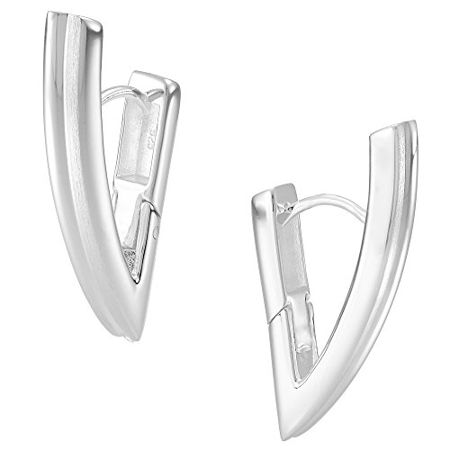 Vinani Klapp-Creolen V-Form eckig glänzend Sterling Silber 925 Ohrringe 2CVV