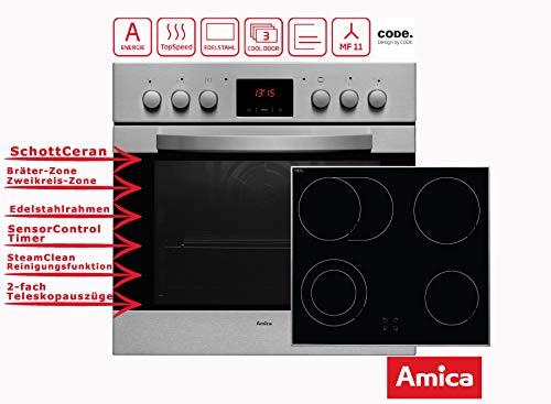 Amica Einbauherdset EHC 12916 E mit Umluft   Bräterzone   Zweikreis Kochzone   Timer-Funktion   SteamClean Reinigung   2-fach Teleskopauszüge, 2x75%